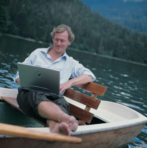 businessman on a boat